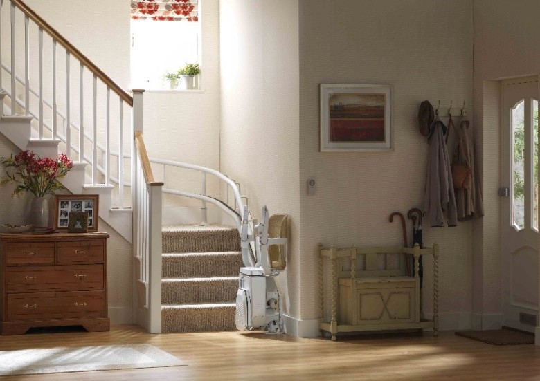 curved stair lift folded chair